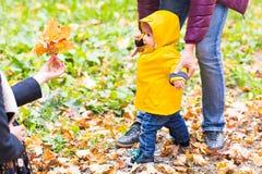 Garçon d'enfant en bas âge tenant des mains avec le père de hir dehors un jour d'automne Images stock