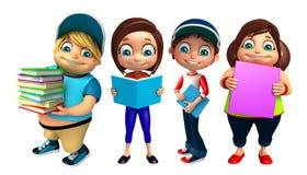Garçon d'enfant et fille d'enfant avec des livres Image libre de droits