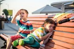 Garçon d'enfants en bas âge et son frère d'enfant de mêmes parents s'asseyant sur un banc par le c Photos stock