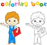 Garçon dans l'uniforme scolaire avec le livre rouge Livre de coloriage pour des enfants Photo stock