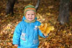 Garçon dans la forêt d'automne Photos libres de droits