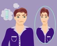 Garçon dans la puberté avec l'acné Photo libre de droits