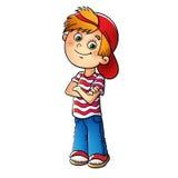 Garçon dans un chapeau rouge et un T-shirt rayé illustration stock