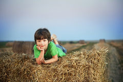 Garçon dans une meule de foin dans le domaine Photographie stock