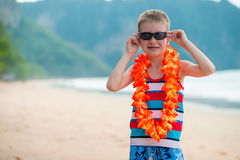 garçon de 7 ans dans Lei hawaïen traditionnel image libre de droits