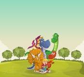 Garçon de bande dessinée lisant un livre à de grands dinosaures sur le parc vert illustration stock