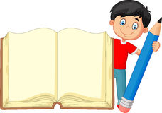 Garçon de bande dessinée tenant le livre et le crayon géants illustration de vecteur