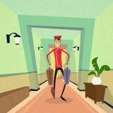 Garçon de Bell Carry Suitcase Indoor Hotel Porter illustration de vecteur