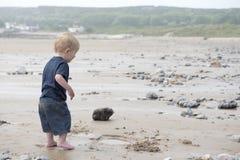 Garçon de deux ans jouant sur la plage photos libres de droits