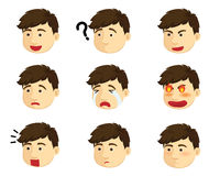 Garçon de différentes émotions Photo stock