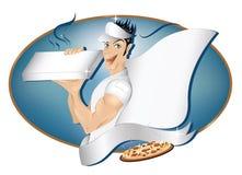 Garçon de distribution de pizza avec l'espace de copie Photo stock