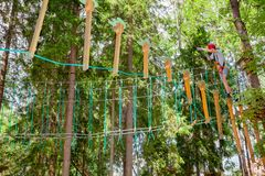 Garçon de l'adolescence sur un cours de cordes en parc d'aventure de cime d'arbre passant l'obstacle de cordage d'armement photographie stock libre de droits