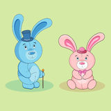 Garçon de lapin de bande dessinée et fille de lapin Images libres de droits