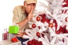 Garçon de livraison avec les cadeaux et l'arbre de Noël images libres de droits