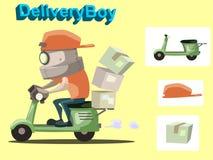 Garçon de livraison de robot illustration stock