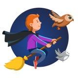 Garçon de magicien volant rapidement la nuit sur le bâton de balai Images libres de droits