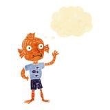 garçon de ondulation de poissons de bande dessinée avec la bulle de pensée Photographie stock libre de droits