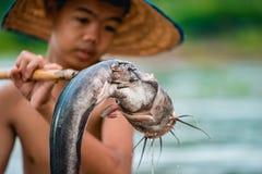 Garçon de pêche Photos libres de droits