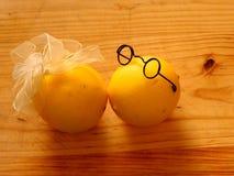 Garçon de quelques citrons dans des verres foncés et une fille Photographie stock libre de droits