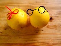 Garçon de quelques citrons dans des verres foncés et une fille Photo libre de droits