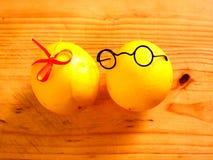 Garçon de quelques citrons dans des verres foncés et une fille Image libre de droits