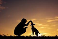 Garçon de silhouette jouant avec le petit chien Photographie stock