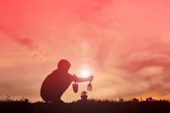 Garçon de silhouette plantant un arbre Photographie stock
