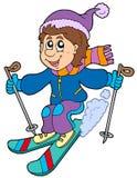 Garçon de ski de dessin animé Photos libres de droits
