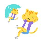 Garçon de sommeil de chat Photos libres de droits