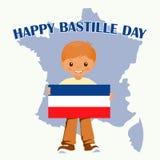 Garçon de sourire d'enfant tenant un drapeau de Frances sur un fond blanc Mascotte de bande dessinée de vecteur Illustrations de  illustration libre de droits