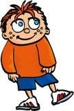 Garçon de sourire de dessin animé avec le cheveu et les taches de rousseur rouges Image stock