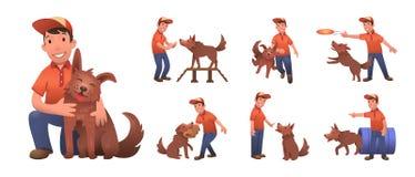 Garçon de sourire heureux formant son chien drôle Garçon et chien jouant ensemble Ensemble de personnages de dessin animé plats A illustration de vecteur