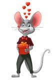 Garçon de souris avec un cadeau, jour du ` s de Valentine Illustration Libre de Droits