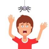 Garçon effrayé d'une araignée pendant du dessus illustration stock
