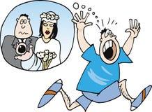 Garçon effrayé du mariage et de la chéri illustration de vecteur
