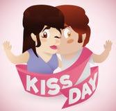 Garçon embrassant son amie avec le ruban de jour de baiser, illustration de vecteur Images stock
