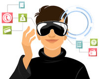 Garçon en verres de réalité virtuelle Image libre de droits
