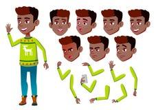 Garçon, enfant, enfant, vecteur de l'adolescence Élève gai noir Afro-américain Émotions de visage, divers gestes Création d'anima illustration libre de droits
