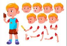 Garçon, enfant, enfant, vecteur de l'adolescence loisirs Éducatif, étude Émotions de visage, divers gestes Ensemble de création d illustration libre de droits