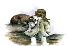 Garçon et agneau photographie stock libre de droits