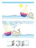 Garçon et baleine heureux Photo stock