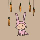 Garçon et carotte de lapin Photo stock