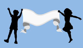 Garçon et fille 1 de drapeau Image libre de droits