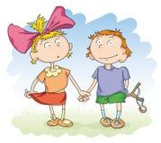 Garçon et fille illustration libre de droits