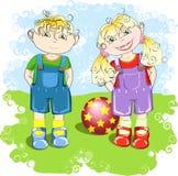 Garçon et fille illustration de vecteur