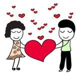 Garçon et fille avec le coeur rouge illustration libre de droits