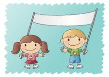 Garçon et fille avec le drapeau Photos libres de droits
