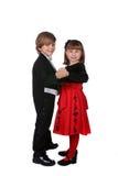 Garçon et fille dans la danse formelle de vêtement ensemble Images stock