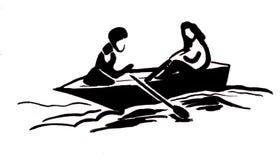 Garçon et fille dans le bateau illustration libre de droits