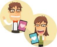 Garçon et fille de ballot employant un amour APP pour Ipad illustration libre de droits